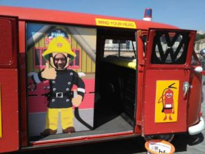 vw camper, red, vw fire engine, firefighter selfie, charity